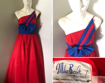 Vintage Mike Benet gown prom formal dress one shoulder pageant dress Americana single shoulder dress with petticoat