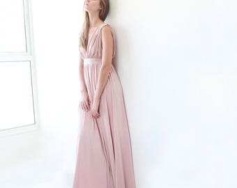 Pink maxi floor length dress, Bridesmaids pink long dress 1003