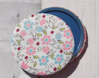 Liberty Fabric Covered Pocket Mirror Clemmie Pink