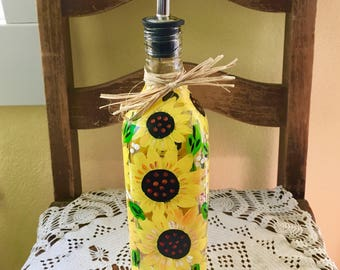 Handpainted Sunflower liquid dispenser for oil and vinegar or soap