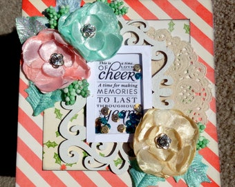 Shaker Box 3D Christmas Card with Paper Stacking Technique and Sequins and silk flowers