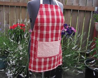 Red, white plaid cotton hostess apron