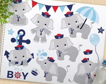 Boy Elephant, Baby Shower clipart, sailor elephant, sailing, new baby, cute elephant clip art, commercial use, vector clipart, SVG cut file