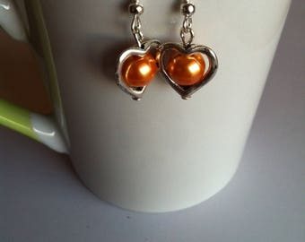 Valentine hearts and yellow beads earrings