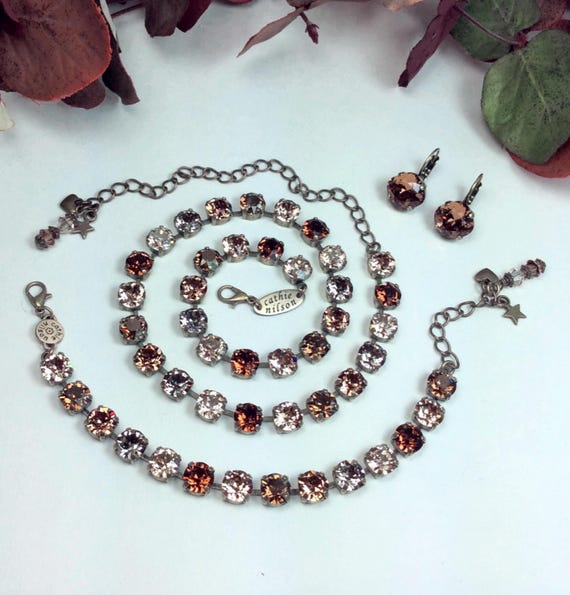 "Swarovski Crystal 8.5mm Necklace   ""Bronzey Browns"" - Browns, Grays, & Golden Neutrals  - Designer Inspired  FREE SHIPPING"