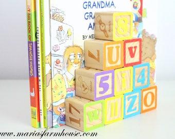 BOOKEND, Upcycled, Altered Art, Vintage Wooden Letter & Number Blocks, Little Prince or Princess Bedroom, Nursery Decor, Baby Shower Gift