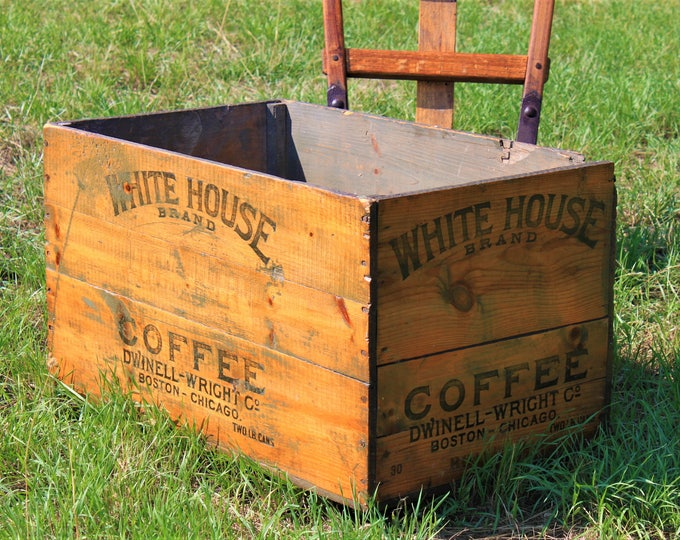 Large Antique White House Brand Coffee Wood Shipping Create, Industrial Decor, Coffee Box