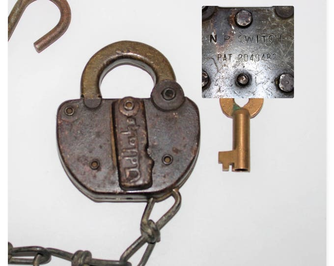 Vintage Adlake Switch Lock made for the Northern Pacific Railroad with Brass Hollow Barrel Key, NP RR