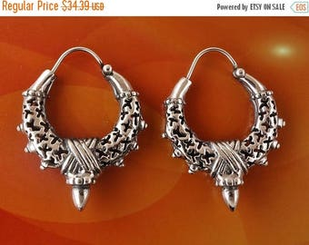 ON SALE Sterling Silver Tribal Spiked Hoops Earrings 8.9g
