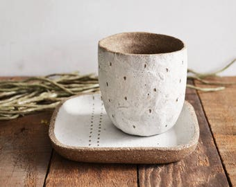 Rustic Plate and Cup Set - Ceramic Plate - Pottery Plate - Ceramic Cup - Ceramics - Pottery - Platter