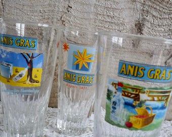 Vintage Set of 3 FRENCH ANIS GRAS Glasses, 3 Original, Illustrated Bistro Glasses.