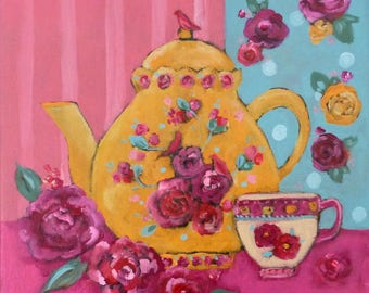Teapot and flower painting ,boho and romantic style
