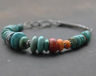 Boho Turquoise bracelet, Chunky artisan bracelet in turquoise dark silver,  bracelet - boho jewelry stacking bracelet statement piece