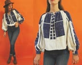 vintage Romanian Blue Puff Embroidered Traditional Folk Blouse