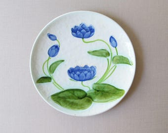 Blue Water Lily, Antique, Schramberg German Majolica Plate, c.1920s, Lovely Condition