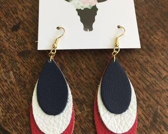 4th July Red White Blue earrings // July 4th earrings jewelry  // leather teardrop earrings // 4th of July earrings //