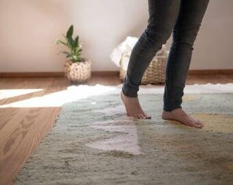 Unique design woven wool rug, Green Tribal area rug, Decorative carpet, Modern rug ethnic style, Spanish Art gift, Uruguayan craft work