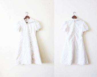 White 60s Dress / White Embroidered Dress / 60s Wedding Dress / Vintage Wedding Dress / A Line Dress / Reception Dress
