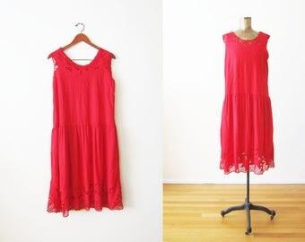 Bali Cut Dress - Bali Cutwork Dress - Red Sundress - Embroidered Dress - Rayon Dress - Vacation Dress - Tropical Dress - Floral Dress L