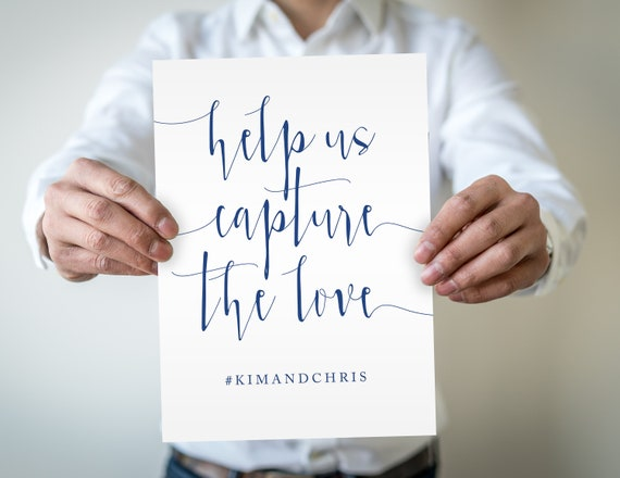 Navy hashtag sign editable instant download