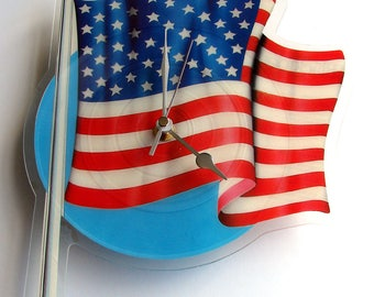 Vinyl Record CLOCK made from recycled Stars and Stripes Picture Disc. Star spangled banner red white and blue flag patriotic Happy 4th July