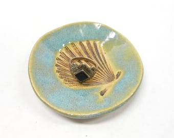 Pottery Shell Ring Dish Shell Ceramic Ring Dish Ring Holder Jelewry Holder Teabag or Teaspoon Rest Pottery Shell Dish Shell Bowl in Blue