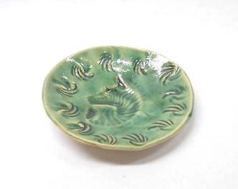 Zebra Soap Dish Pottery Soap Dish Ceramic Soap Dish Pottery Trinket Dish Ceramic Trinket Dish Ring Dish in Blue Green with Zebra Imprint