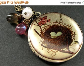 SUMMER SALE Locket Necklace. Bird Nest Locket with Fresh Water Pearl and Teardrop Charms. Handmade Jewelry.
