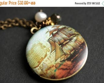 BACK to SCHOOL SALE Ship Locket Necklace. Nautical Ship Necklace with Glass Teardrop and Fresh Water Pearl. Sailing Ship Bronze Locket. Hand
