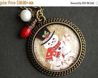 BACK to SCHOOL SALE Happy Snowman Necklace. Christmas Pendant. Holiday Necklace with Red Coral Teardrop and Pearl Charm. Christmas Necklace.