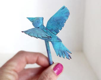 Calypso Blue Bird Hair Stick