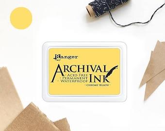 YELLOW ink pad, mustard yellow, gold ink pad, Ranger ink pad, yellow ink pad, stamp ink pad, acid free, non-toxic, waterproof, permanent