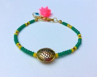 Gold fish green beads charms bracelet with pink tassel, evil eye bracelet