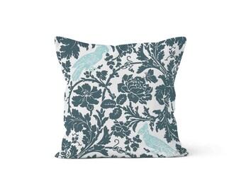Blue Birds Pillow Cover Floral - Barber Gunmetal Canal - Lumbar 12 14 16 18 20 22 24 26 Euro - Hidden Zipper Closure
