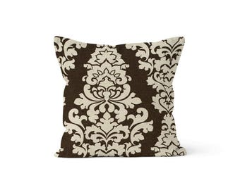 Brown Damask Pillow Cover - Berlin Cave - Lumbar 12 14 16 18 20 22 24 26 Euro - Hidden Zipper Closure