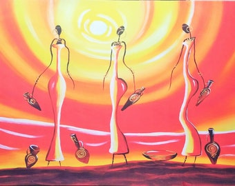 2x3 feet Abstract Painting Pretty African Ladies Canvas Print of my Original Painting Ready to Hang Contemporary Fine Art