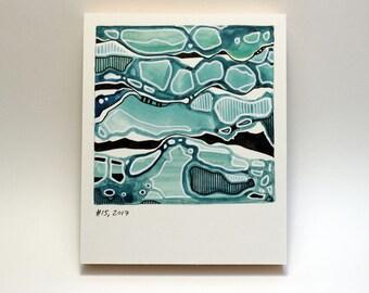Polaroid #15 - tiny art - ocean art - sea painting - ready to hang - fine art series - blue waves - water art - sea art - contemporary art