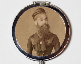 Bearded Lady Compact Mirror - Circus Sideshow Freak Performer Victorian Oddity - Make Up Pocket Mirror for Cosmetics