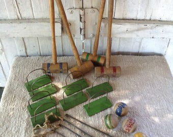 Miniature Croquet Set, Tabletop Collectible Toy, Doll Size, Summer Fun