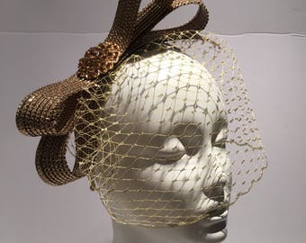 Gold Fascinator -Birdcage fascinators - Wedding- Cocktail Hat- Bow headband -Derby fascinator- Polo Match- Horse racing Fashion