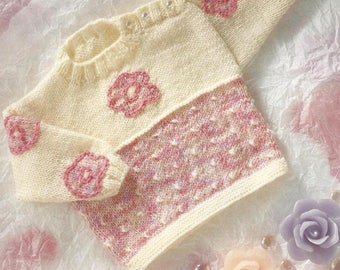 PDF Instant Download,  Baby Sweater, Jumper, Knitting Pattern, Baby or Toddler 18/22 Inch Chest