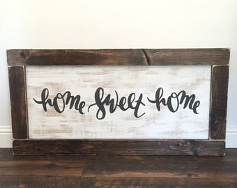 EXTRA LARGE home sweet home sign - rustic farmhouse handmade sign