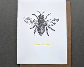 Love Letters: Bee Mine Valentines Card, Valentine for Him, Valentine for Her, Love Letterpress card