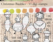Christmas Baubles - 11 digi stamp value bundle in png and jpg files for instant download