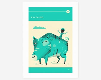 P is for PIG (Giclée Fine Art Print/Photo Print/Poster Print) by Jazzberry Blue