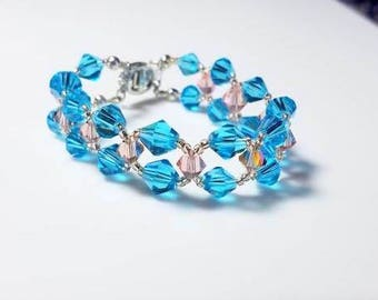 Multi Strand Blue Pale Pink Crystal Bracelet Double Strand Peach Seed Beads Bracelet Unique Beaded Sparkling Statement Jewelry Gifts for Her