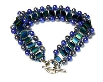 Blue Tila Beads Woven Cuff Bracelet with Gray Grey Purple Pearls Beaded Seed Beads Bracelet Complex Beadwork Bracelet Unique Modern Jewelry