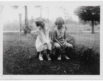 Old Photo 2 Girls sitting on Chairs wearing Dresses 1930s Photograph Snapshot vintage