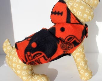 Football Dog Hoodie, XS and Small Football Print fleece dogs jacket sweater coat, IN STOCK - Fashion Dog Clothes