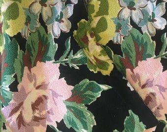 Pair vintage barkcloth pillow covers black floral